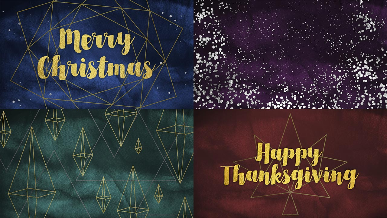 Free Geometric Gold Photoshop Templates For Thanksgiving & Christmas