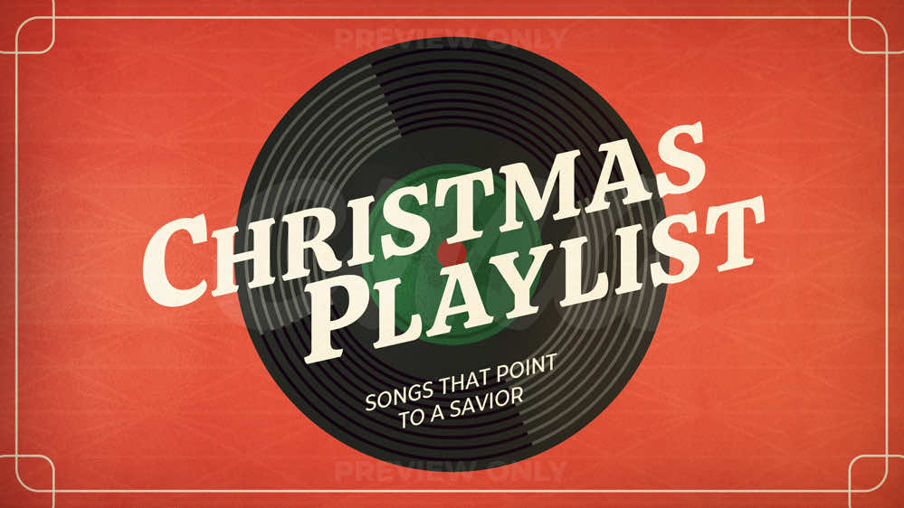 Christmas Playlist Record Player Border