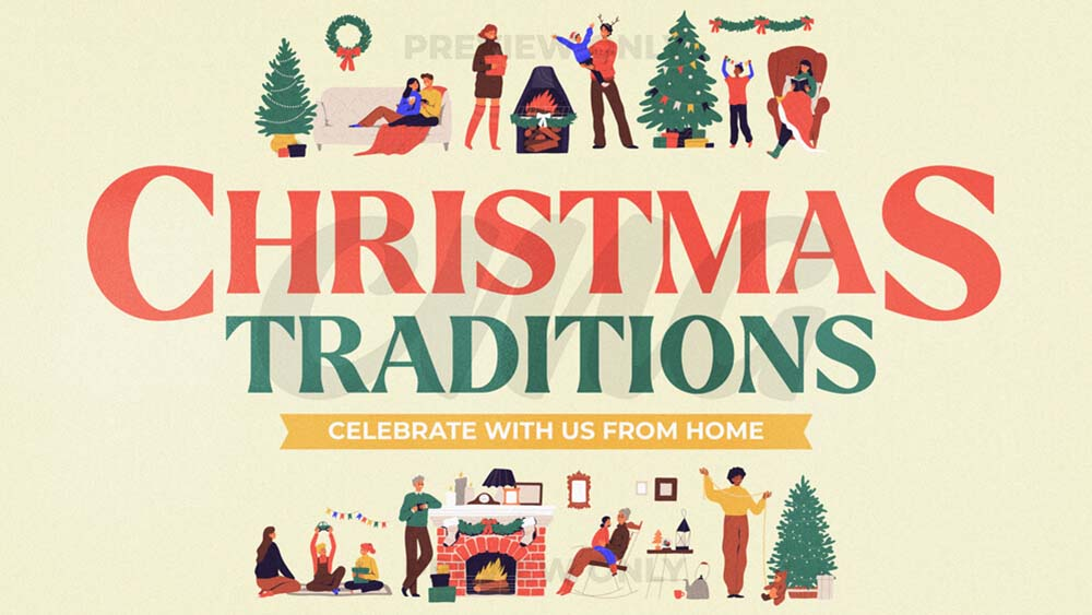 Christmas Traditions Family Illustrations