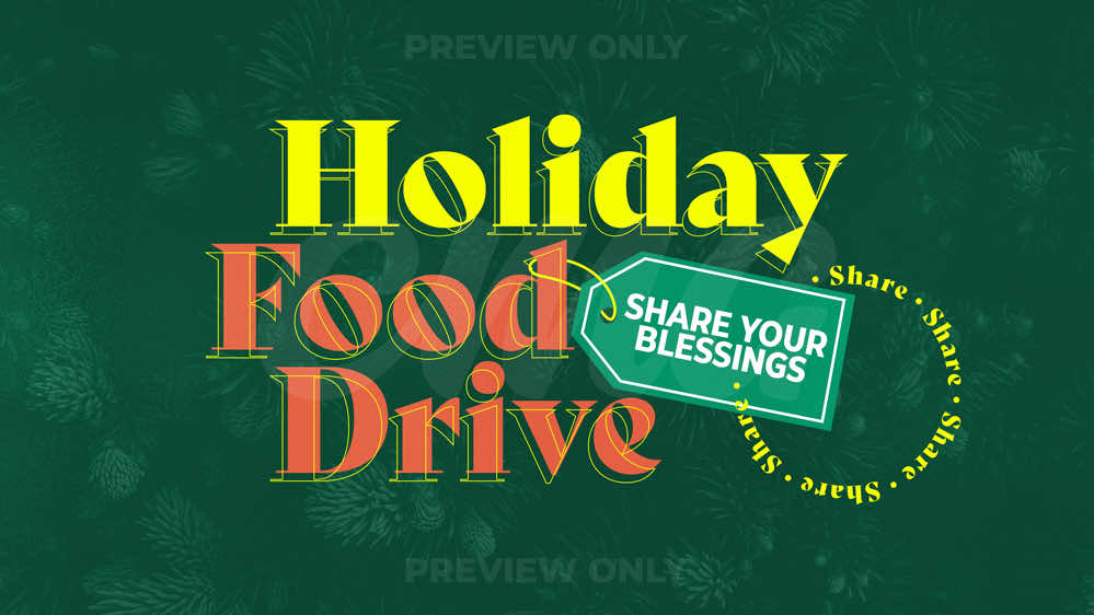Holiday Food Drive Outline Text Tag