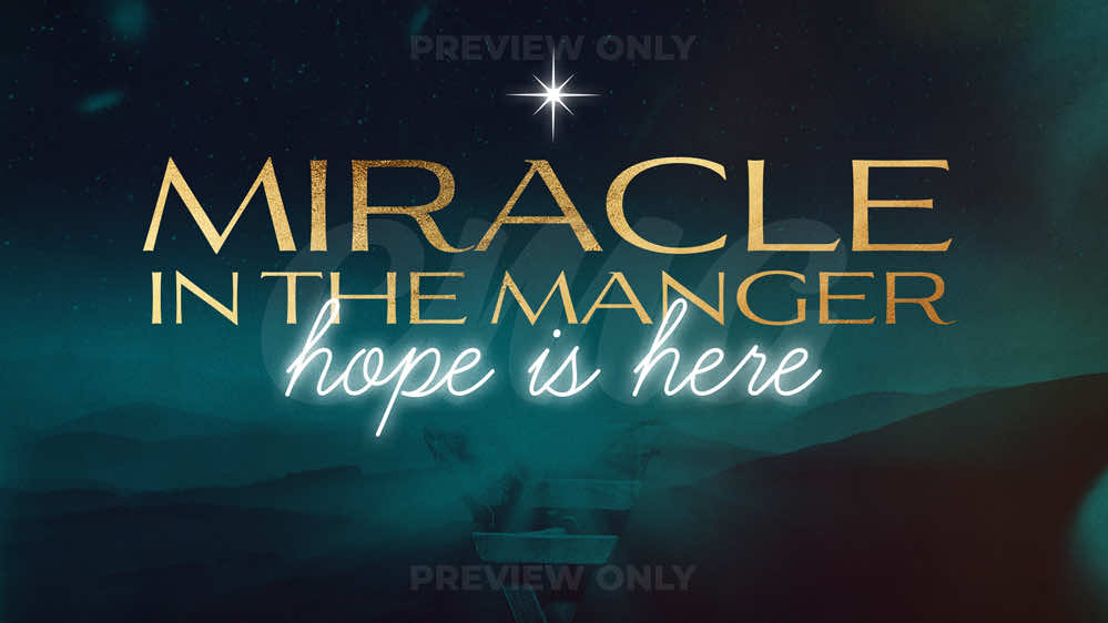 Miracle In The Manger Gold Glowing Text