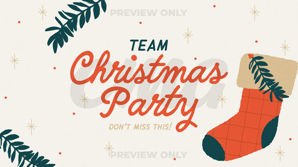 Team Christmas Party Illustrated Stocking